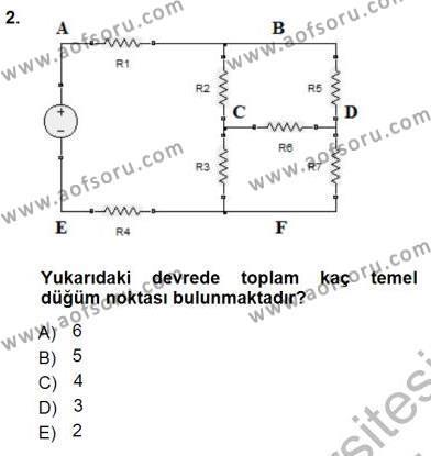 Devre Analizi Dersi 2012 - 2013 Yılı Dönem Sonu Sınavı 2. Soru
