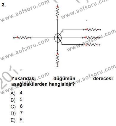 Elektrik Enerjisi Üretim, İletim ve Dağıtımı Bölümü 1. Yarıyıl Devre Analizi Dersi 2013 Yılı Güz Dönemi Dönem Sonu Sınavı 3. Soru