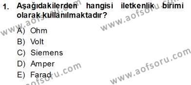 Devre Analizi Dersi 2013 - 2014 Yılı Ara Sınavı 1. Soru