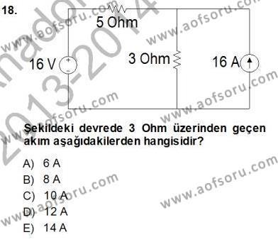Devre Analizi Dersi Ara Sınavı Deneme Sınav Soruları 18. Soru