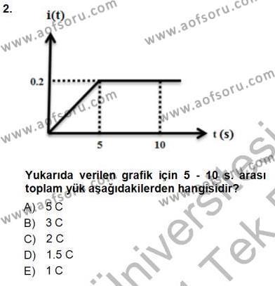 Elektrik Enerjisi Üretim, İletim ve Dağıtımı Bölümü 1. Yarıyıl Devre Analizi Dersi 2014 Yılı Güz Dönemi Tek Ders Sınavı 2. Soru