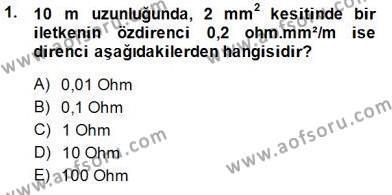 Devre Analizi Dersi 2014 - 2015 Yılı Ara Sınavı 1. Soru