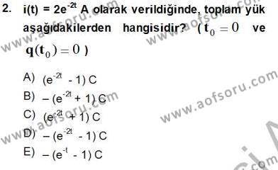 Devre Analizi Dersi 2014 - 2015 Yılı Ara Sınavı 2. Soru