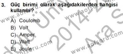 Devre Analizi Dersi 2014 - 2015 Yılı Ara Sınavı 3. Soru