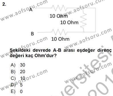 Devre Analizi Dersi 2015 - 2016 Yılı Dönem Sonu Sınavı 2. Soru