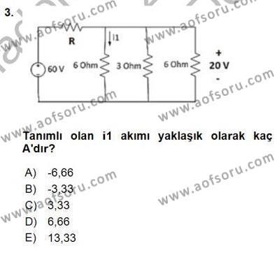 Devre Analizi Dersi 2015 - 2016 Yılı Dönem Sonu Sınavı 3. Soru