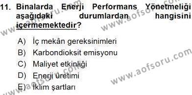 Enerji Yönetimi ve Politikaları Dersi Ara Sınavı Deneme Sınav Soruları 11. Soru