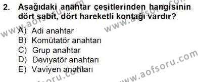 Elektrik Tesisat Planları Dersi 2012 - 2013 Yılı Dönem Sonu Sınavı 2. Soru