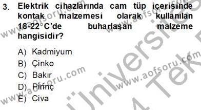 Elektrik Tesisat Planları Dersi 2013 - 2014 Yılı Tek Ders Sınavı 3. Soru