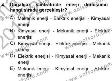 Geleneksel Enerji Kaynakları Dersi 2013 - 2014 Yılı Ara Sınavı 4. Soru