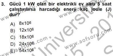 Geleneksel Enerji Kaynakları Dersi 2015 - 2016 Yılı Ara Sınavı 3. Soru