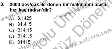 Elektrik Makinaları Dersi 2012 - 2013 Yılı Dönem Sonu Sınavı 3. Soru