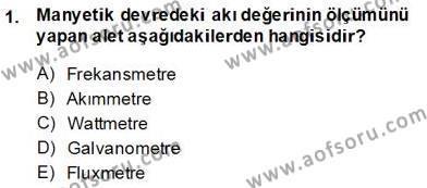 Elektrik Makinaları Dersi 2013 - 2014 Yılı Ara Sınavı 1. Soru