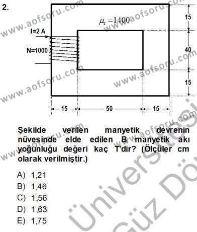 Elektrik Makinaları Dersi 2013 - 2014 Yılı Ara Sınavı 2. Soru