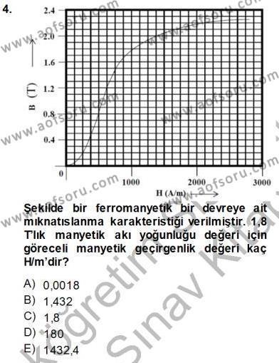 Elektrik Makinaları Dersi 2013 - 2014 Yılı Ara Sınavı 4. Soru