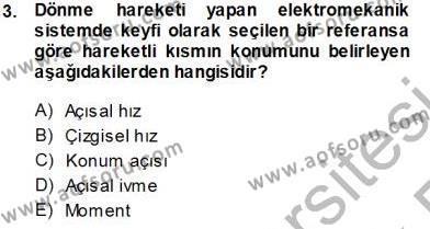 Elektrik Makinaları Dersi 2013 - 2014 Yılı Tek Ders Sınavı 3. Soru
