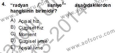 Elektrik Makinaları Dersi 2013 - 2014 Yılı Tek Ders Sınavı 4. Soru