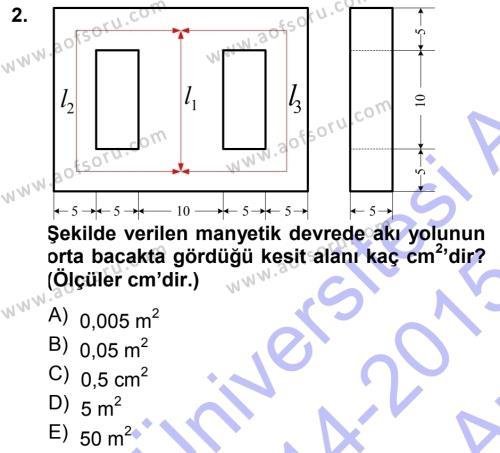 Elektrik Makinaları Dersi 2014 - 2015 Yılı Ara Sınavı 2. Soru