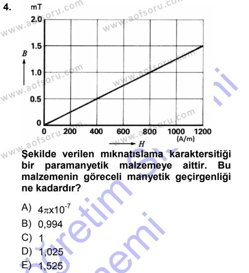 Elektrik Makinaları Dersi 2014 - 2015 Yılı Ara Sınavı 4. Soru