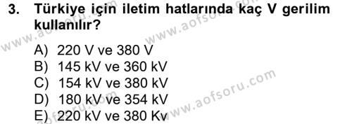 Elektrik Bakım, Arıza Bulma ve Güvenlik Dersi 2012 - 2013 Yılı Ara Sınavı 3. Soru