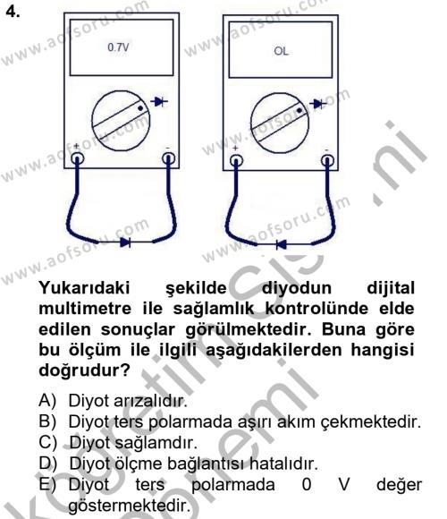 Elektrik Bakım, Arıza Bulma ve Güvenlik Dersi 2012 - 2013 Yılı Ara Sınavı 4. Soru