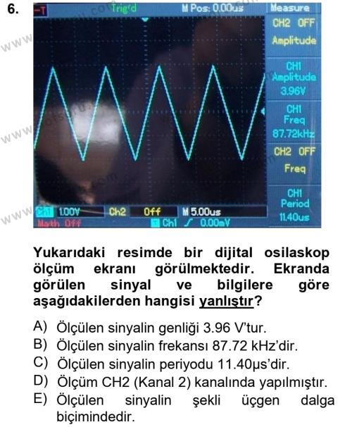 Elektrik Bakım, Arıza Bulma ve Güvenlik Dersi Ara Sınavı Deneme Sınav Soruları 6. Soru