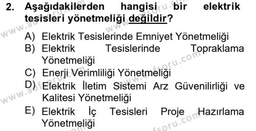 Elektrik Bakım, Arıza Bulma ve Güvenlik Dersi 2012 - 2013 Yılı Dönem Sonu Sınavı 2. Soru
