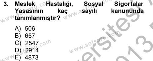Elektrik Bakım, Arıza Bulma ve Güvenlik Dersi 2012 - 2013 Yılı Dönem Sonu Sınavı 3. Soru