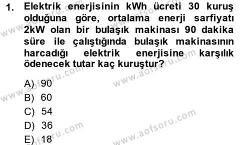 Elektrik Bakım, Arıza Bulma ve Güvenlik Dersi 2013 - 2014 Yılı Ara Sınavı 1. Soru