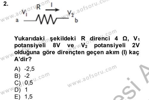 Elektrik Enerjisi Üretim, İletim ve Dağıtımı Bölümü 4. Yarıyıl Elektrik Bakım, Arıza Bulma ve Güvenlik Dersi 2014 Yılı Bahar Dönemi Ara Sınavı 2. Soru