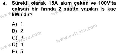 Elektrik Bakım, Arıza Bulma ve Güvenlik Dersi 2013 - 2014 Yılı Ara Sınavı 4. Soru