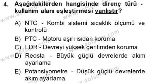 Elektrik Bakım, Arıza Bulma ve Güvenlik Dersi 2013 - 2014 Yılı Dönem Sonu Sınavı 4. Soru