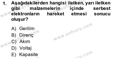 Elektrik Bakım, Arıza Bulma ve Güvenlik Dersi 2013 - 2014 Yılı Tek Ders Sınavı 1. Soru
