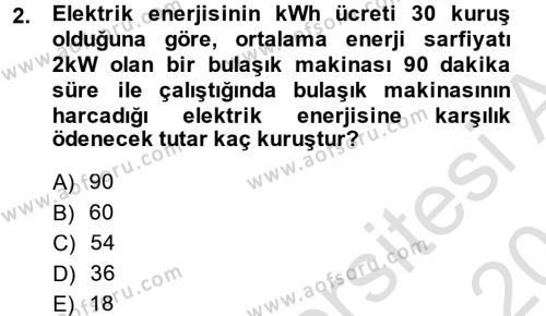 Elektrik Bakım, Arıza Bulma ve Güvenlik Dersi 2013 - 2014 Yılı Tek Ders Sınavı 2. Soru