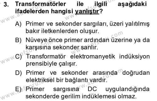 Elektrik Bakım, Arıza Bulma ve Güvenlik Dersi 2013 - 2014 Yılı Tek Ders Sınavı 3. Soru