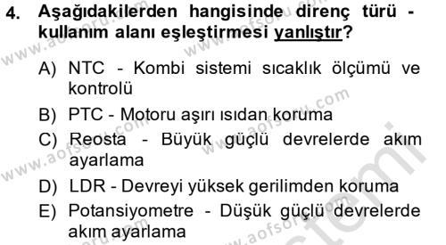 Elektrik Bakım, Arıza Bulma ve Güvenlik Dersi 2013 - 2014 Yılı Tek Ders Sınavı 4. Soru