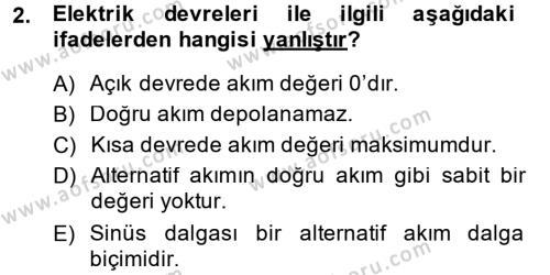 Elektrik Bakım, Arıza Bulma ve Güvenlik Dersi 2014 - 2015 Yılı Ara Sınavı 2. Soru