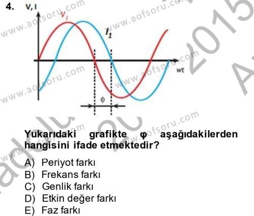 Elektrik Bakım, Arıza Bulma ve Güvenlik Dersi 2014 - 2015 Yılı Ara Sınavı 4. Soru