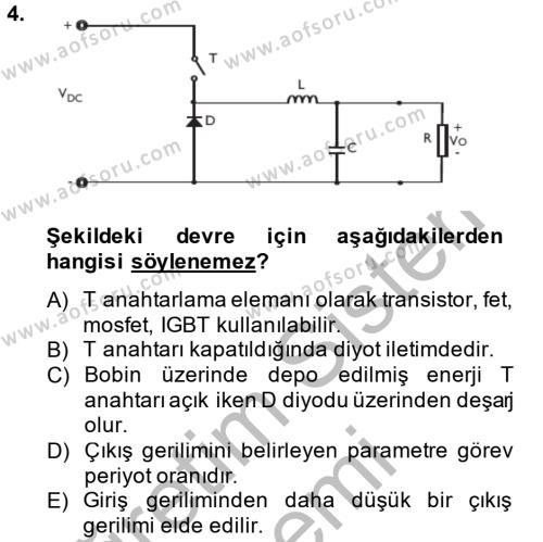 Elektrik Bakım, Arıza Bulma ve Güvenlik Dersi 2014 - 2015 Yılı Dönem Sonu Sınavı 4. Soru