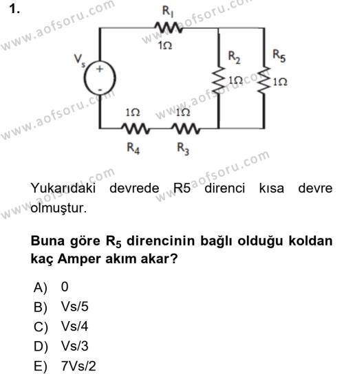 Elektrik Bakım, Arıza Bulma ve Güvenlik Dersi Ara Sınavı Deneme Sınav Soruları 1. Soru