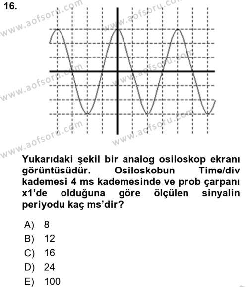 Elektrik Bakım, Arıza Bulma ve Güvenlik Dersi Ara Sınavı Deneme Sınav Soruları 16. Soru
