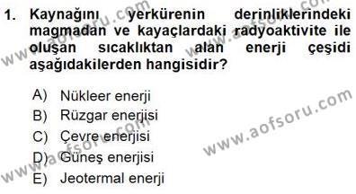 Enerji Analizi Dersi 2015 - 2016 Yılı Ara Sınavı 1. Soru