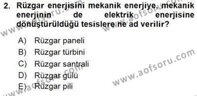 Enerji Analizi Dersi 2015 - 2016 Yılı Dönem Sonu Sınavı 2. Soru