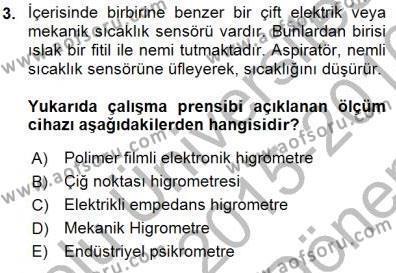 Enerji Analizi Dersi 2015 - 2016 Yılı Dönem Sonu Sınavı 3. Soru
