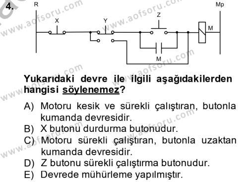 Elektrik Enerjisi Üretim, İletim ve Dağıtımı Bölümü 4. Yarıyıl Elektromekanik Kumanda Sistemleri Dersi 2015 Yılı Bahar Dönemi Dönem Sonu Sınavı 4. Soru