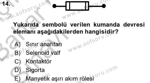 Elektromekanik Kumanda Sistemleri Dersi Ara Sınavı Deneme Sınav Soruları 14. Soru