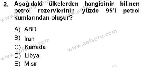 Enerji ve Çevre Dersi 2013 - 2014 Yılı Ara Sınavı 2. Soru