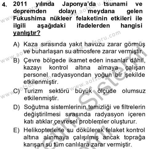 Enerji ve Çevre Dersi 2014 - 2015 Yılı Ara Sınavı 4. Soru