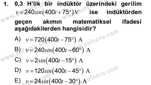 Elektrik Enerjisi İletimi ve Dağıtımı Dersi 2012 - 2013 Yılı Dönem Sonu Sınavı 1. Soru