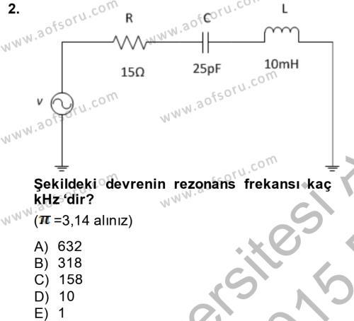 Elektrik Enerjisi İletimi ve Dağıtımı Dersi 2014 - 2015 Yılı (Vize) Ara Sınav Soruları 2. Soru